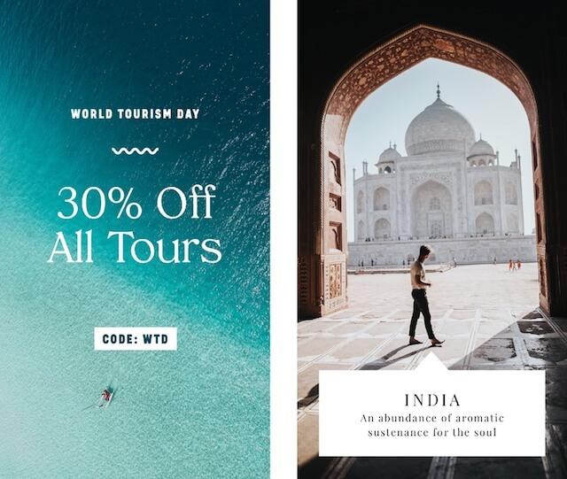 Voorbeelden van advertenties op sociale media voor Wereldtoerismedag