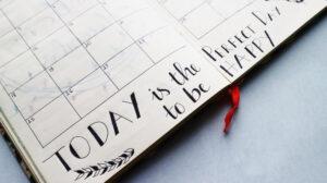 Kalender met inspirerende notitie