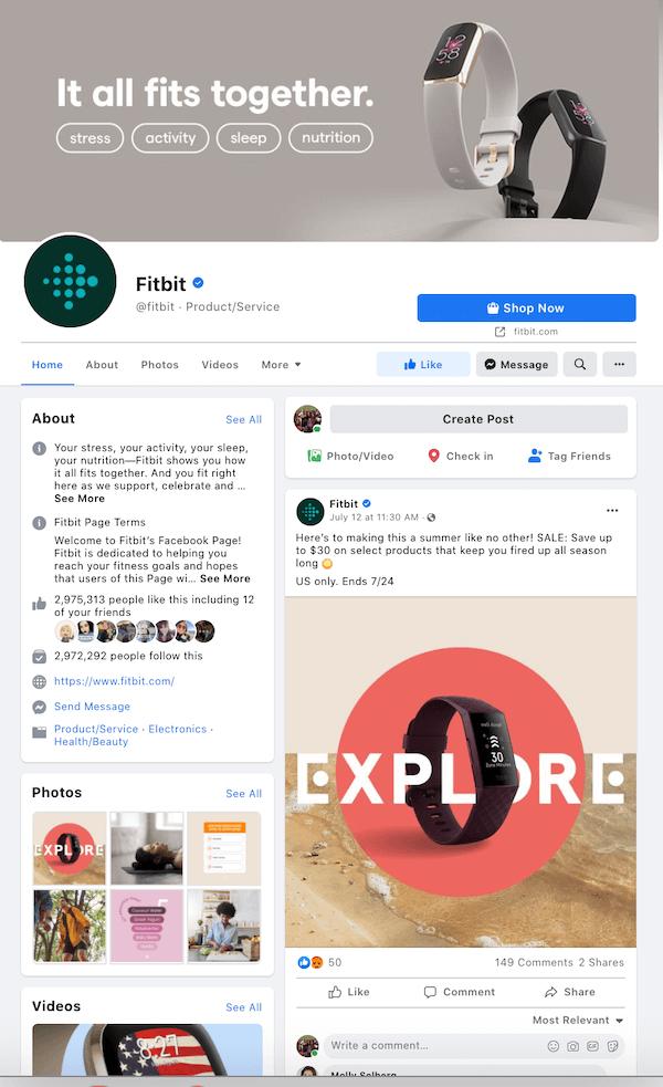 optimalisatie van sociale media - voorbeeld van een Facebook-bedrijfspagina