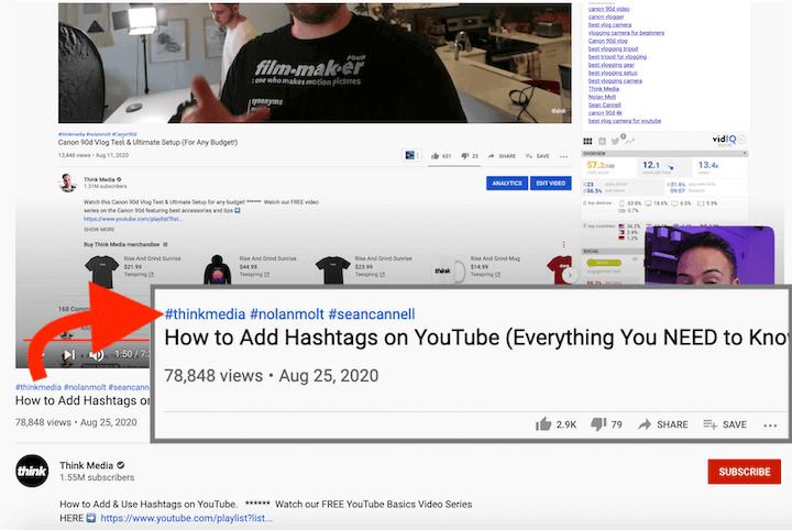 social media optimalisatie op youtube—hashtags boven videotitel