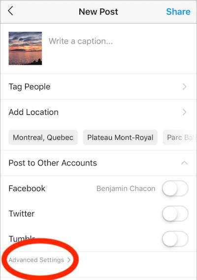 voorbeeld van optimalisatie van sociale media - instagram alt-tekst