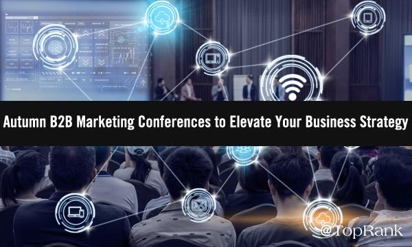 B2B-marketingconferentiebezoekers en sprekers op het podiumbeeld.