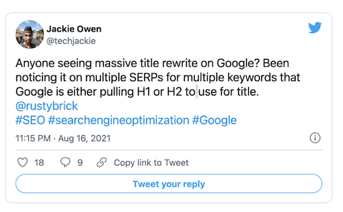 jackie owen tweet op google paginatitel herschrijven