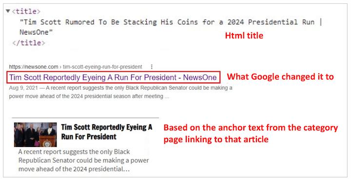 lily ray's voorbeeld van google herschrijven paginatitel