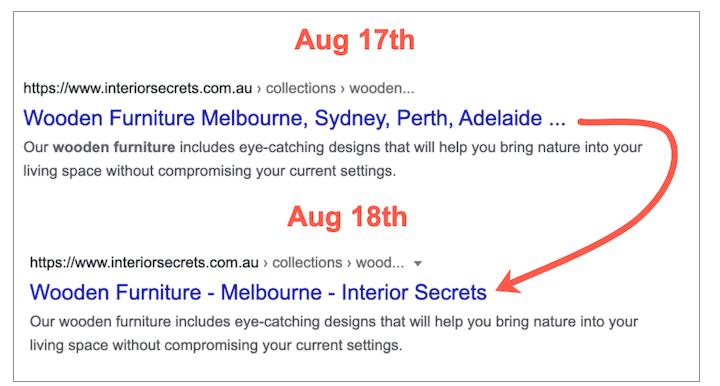 broadie clark's voorbeeld van de update van Google's paginatitelwijziging