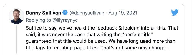 Danny Sullivan's tweet waarin de herschrijving van de Google-pagina wordt erkend