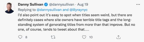 De tweet van Danny Sullivan die zegt dat Google titels herschrijft, helpt vaak een pagina