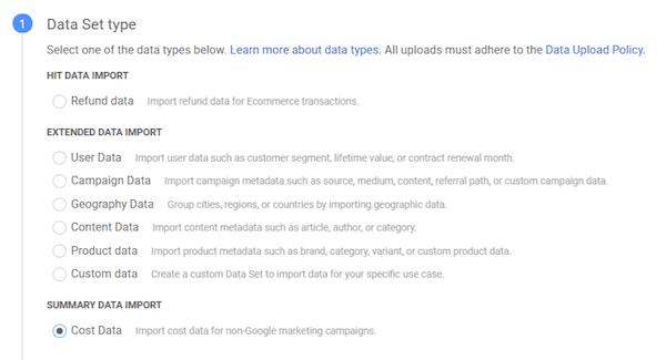 hoe u kostengegevens kunt importeren in Google Analytics-gegevenssettypen