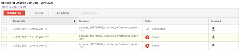 hoe u kostengegevens kunt importeren in google analytics—importstatus