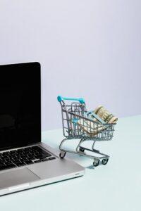 Winkelwagentje met contant geld op een laptop