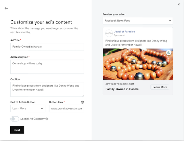 Screenshot van websites + marketing de inhoud van uw advertentie aanpassen