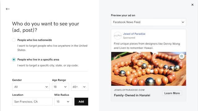 Screenshot van websites + marketing kies de doelgroep voor uw advertentie