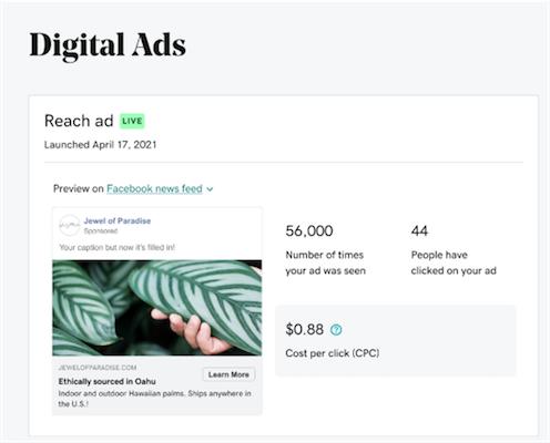 Screenshot van websites + marketing selecteren advertentiebereik