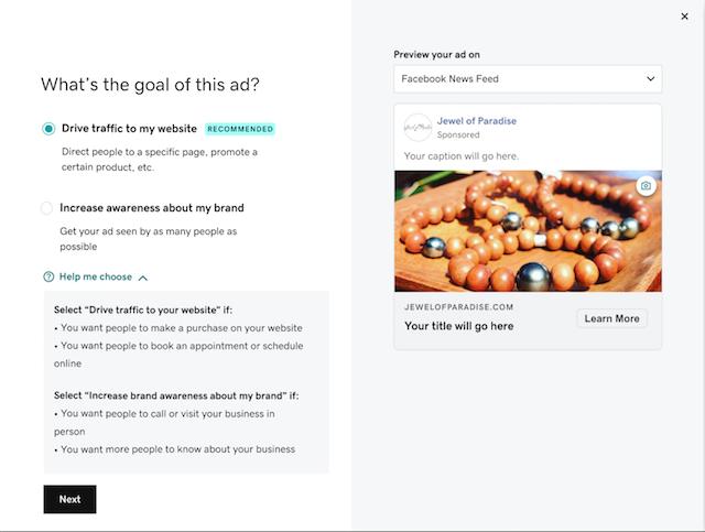 Screenshot van websites + marketingdoel van sociale advertentie