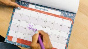 schrijven in een kalender