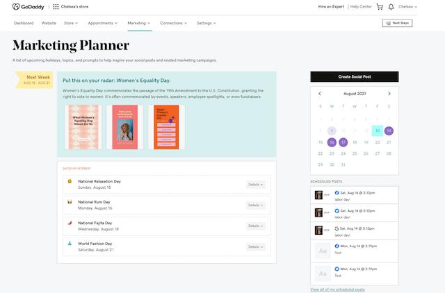 Websites + Marketingplanner-weergave