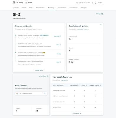 Voorbeeld SEO-dashboard in Websites + Marketing