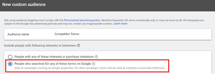 aangepaste doelgroepconfiguratie voor google-advertenties - optie om mensen te kiezen die hebben gezocht op termen van concurrenten