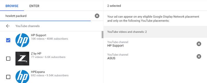 voorbeeld van youtube-plaatsing zoeken op naam van concurrent