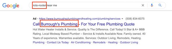 voorbeeld van concurrerende zoekadvertentie