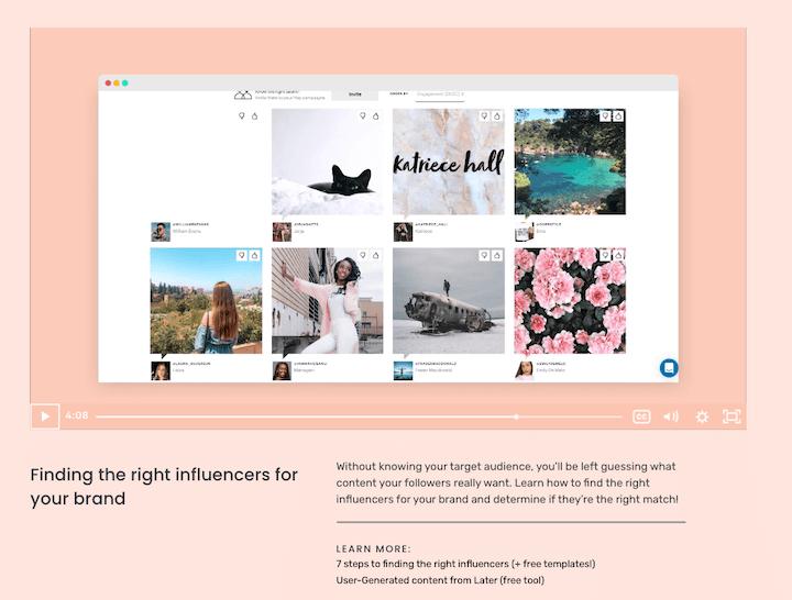 gratis social media marketing cursussen: screenshot van de influencer marketing cursus van later