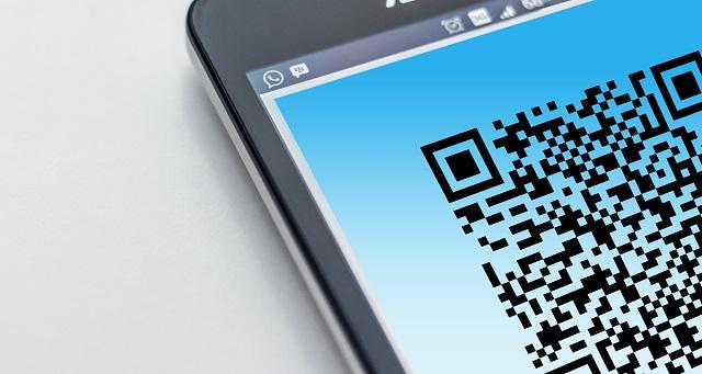 QR-code op een smartphone