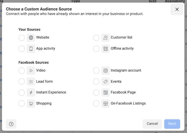 Facebook-advertentietargeting in ios 14 privacy first world: aangepaste doelgroepconfiguratie in advertentiebeheer