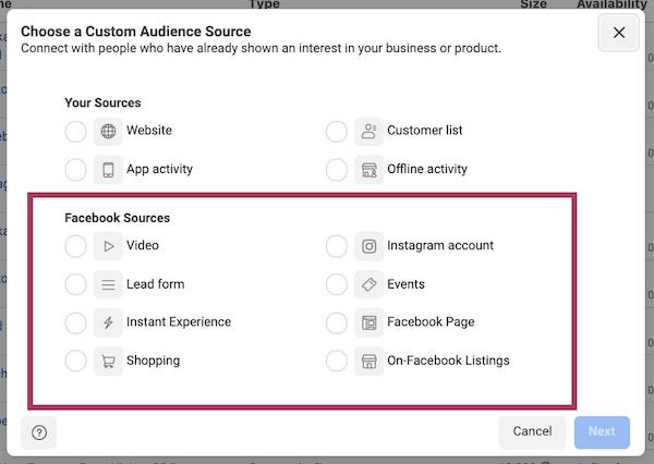 Facebook-advertentietargeting in iOS 14 en privacy first world: selectie van gegevensbronnen voor advertentiebeheer