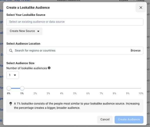 Facebook-advertentietargeting in iOS 14 privacy first world: lookalike doelgroepconfiguratie in advertentiebeheer