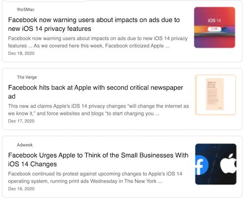 nieuwsartikelen over Facebook-advertentietargeting beïnvloed door iOS 14
