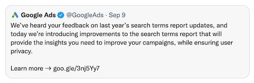 google ads tweet over zoektermen rapport september 2021