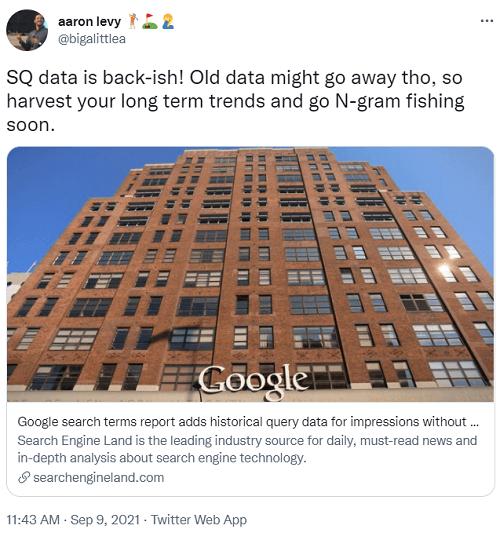 tweet over september 2021 google zoektermen rapport update