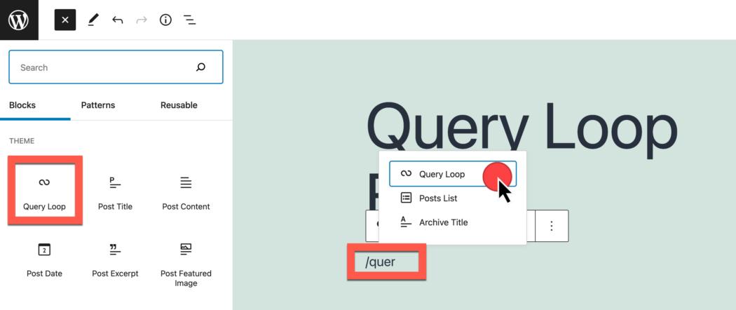 screenshot die laat zien hoe je het querylusblok invoegt via inline tekst en block inserter