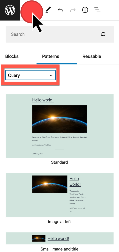voeg een query-lus toe vanuit de blokpatroonselector