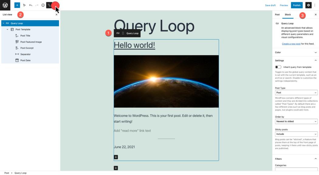 lijstweergave, bewerkingsmodus voor querylus en weergegeven instellingen