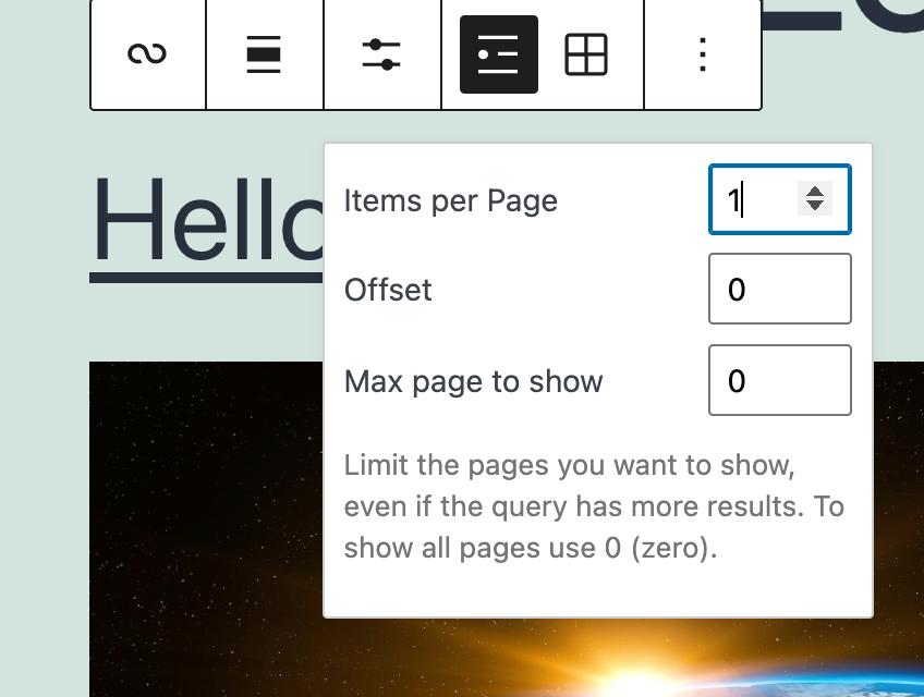 query loop blok werkbalk met het aanpassen van de lijstweergave binnen, het regelen van het aantal berichten per zoekopdracht
