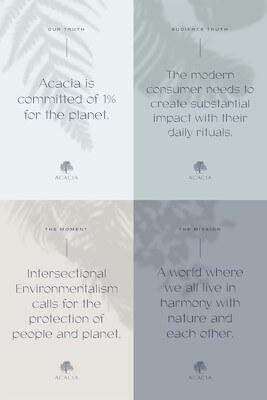 Voorbeeld van afbeelding met vier verschillende ontwerpen voor bijvoorbeeld Acacia