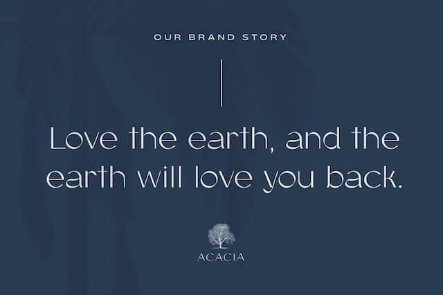 Voorbeeld van afbeelding met slogan voor bijvoorbeeld Acacia