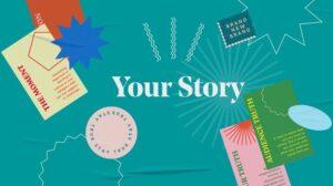 """Blauwe afbeelding met de tekst """"Your Story"""""""