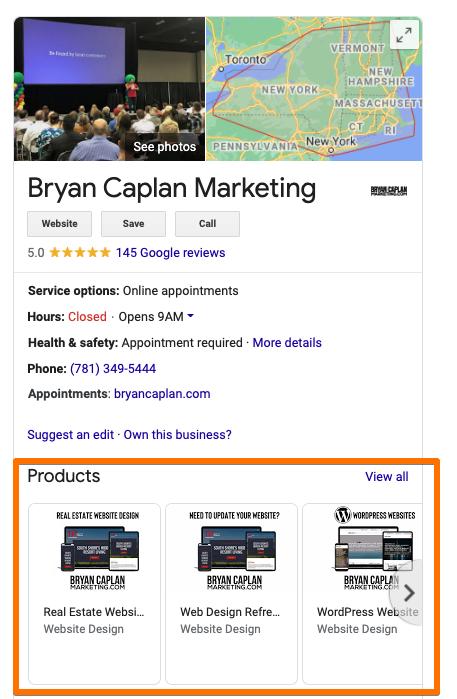 Voorbeeld van een Google-zoekopdracht voor bedrijven
