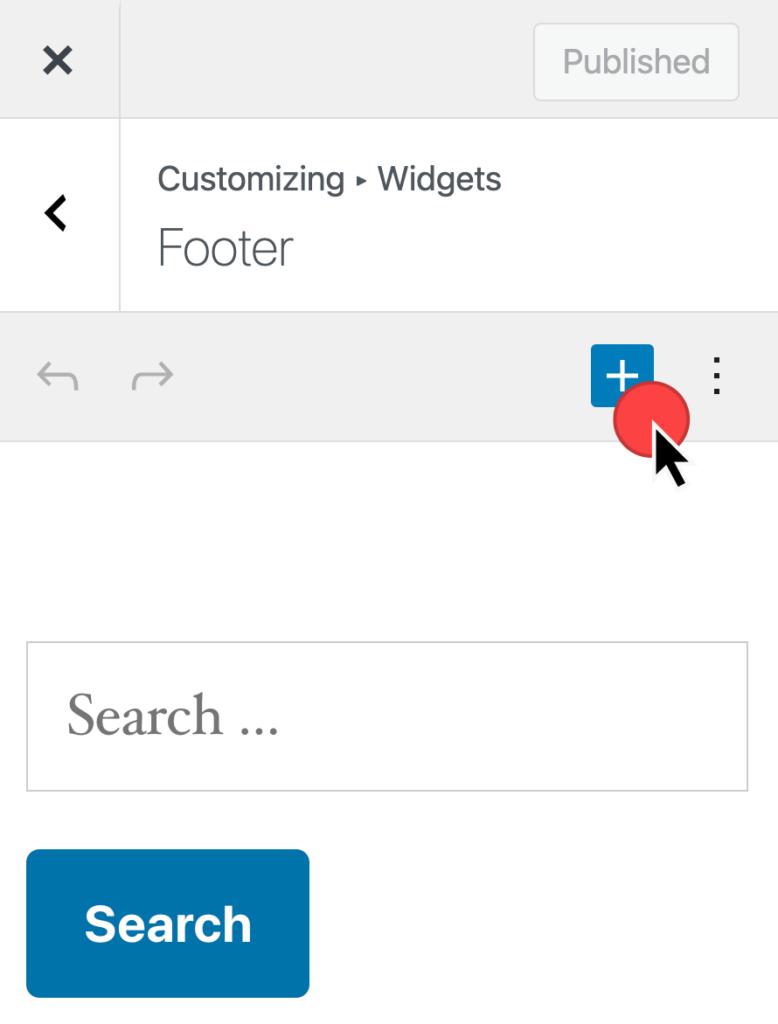 Voeg een widget in bij Uiterlijk > Aanpasser > Widgets