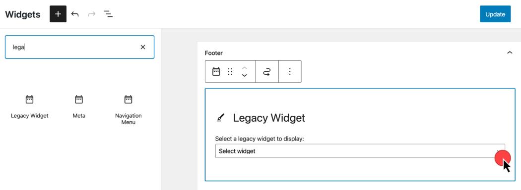 Screenshot bij het invoegen van een verouderde widget