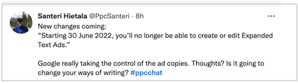 Google heeft uitgebreide tekstadvertenties stopgezet - tweet over controle over het kopiëren van advertenties