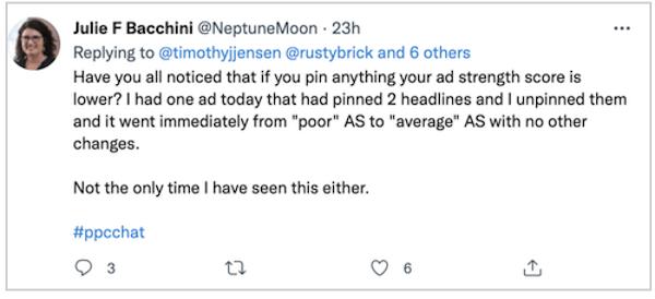 Google heeft uitgebreide tekstadvertenties stopgezet - tweet over advertentiesterkte met vastzetten