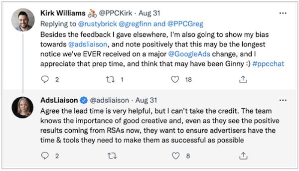 Google heeft uitgebreide tekstadvertenties stopgezet - Kirk Williams tweet over berichtgeving