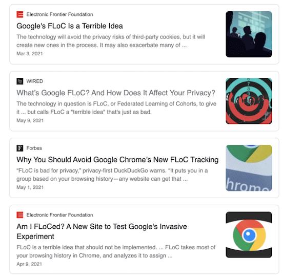 nieuwsrol van google floc speling