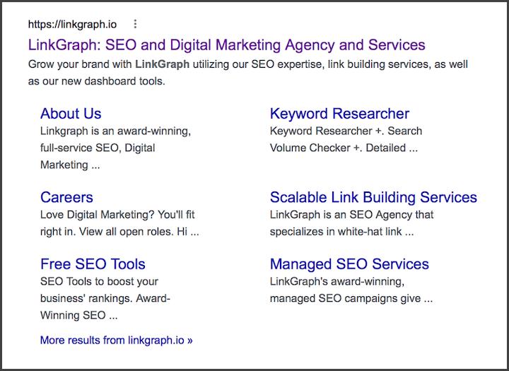 wat is schema-opmaak: voorbeeld van een rijk resultaat voor sitelinks