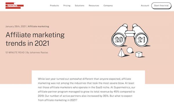 supermetrics blogpost over affiliate marketing trends