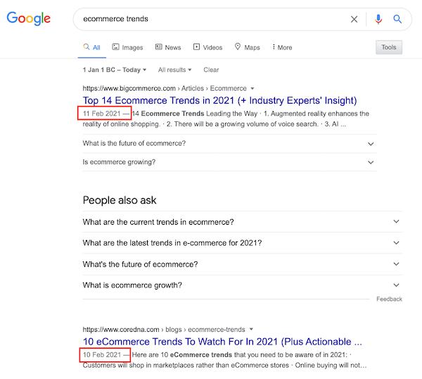 voorbeeld van een zoekopdracht waarbij recentheid van belang is