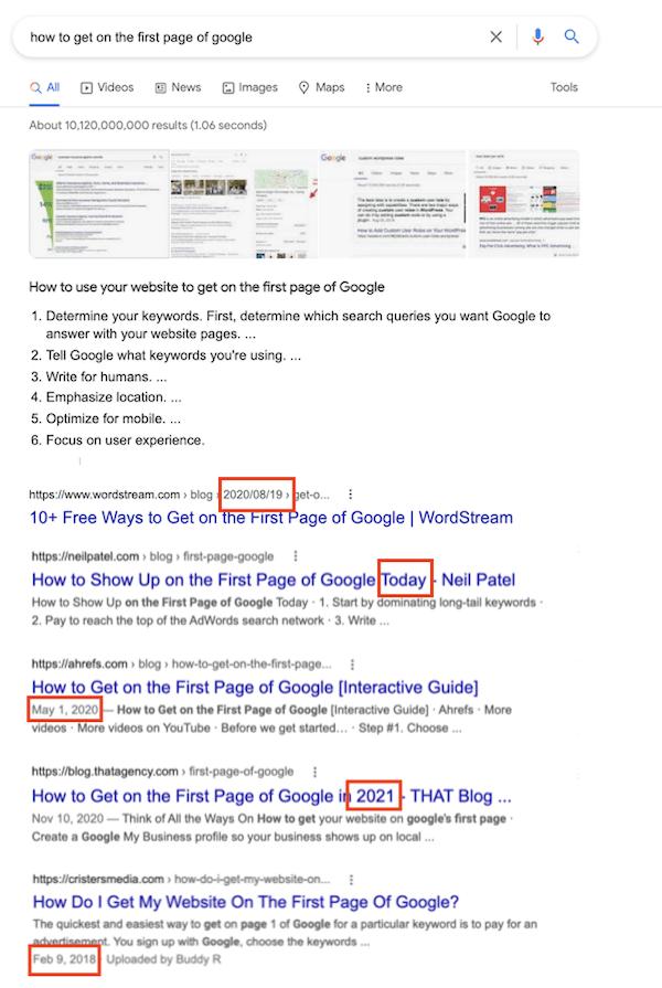 SERP voor vraag over op de eerste pagina van Google komen